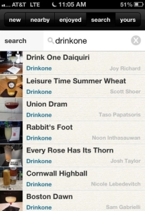 "Find our drinks on the onthebar app. Search for ""drinkone"""